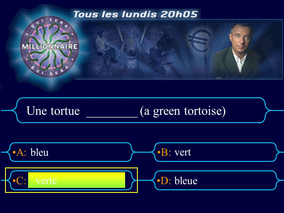 Une tortue ________ (a green tortoise)