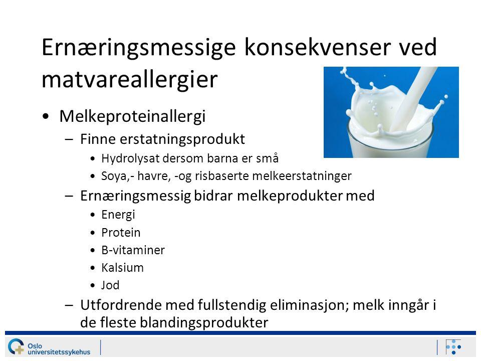 Ernæringsmessige konsekvenser ved matvareallergier
