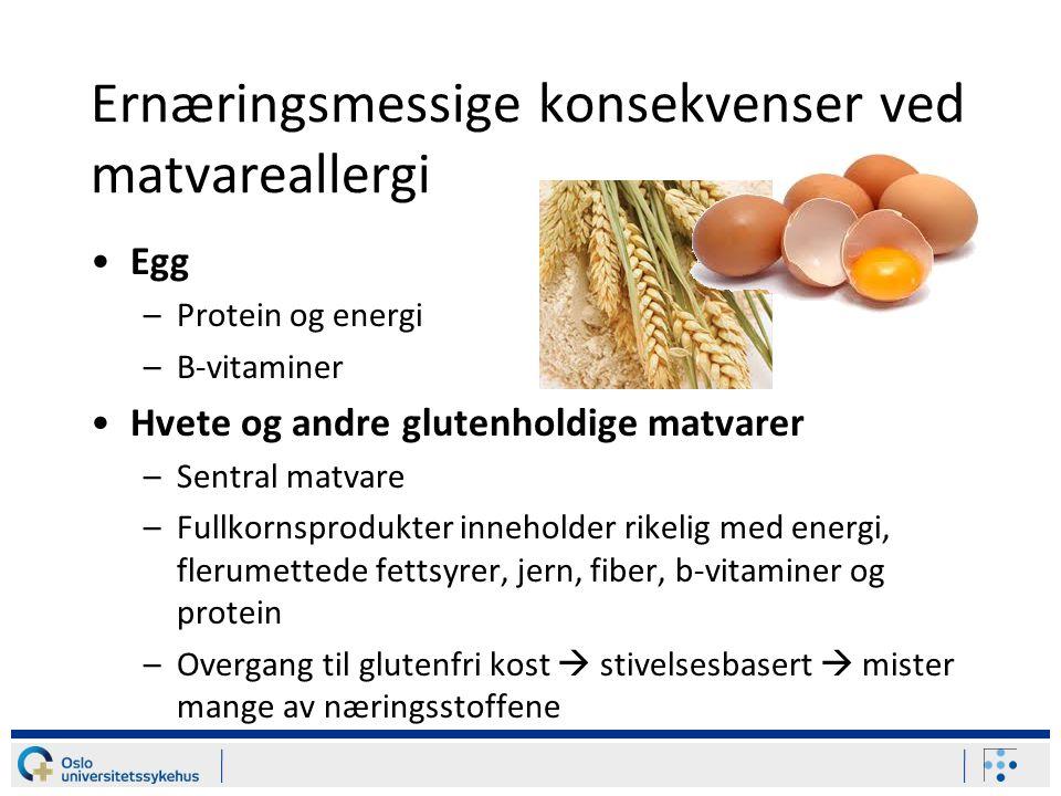 Ernæringsmessige konsekvenser ved matvareallergi