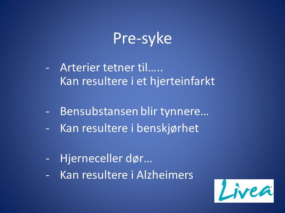 Pre-syke Arterier tetner til….. Kan resultere i et hjerteinfarkt