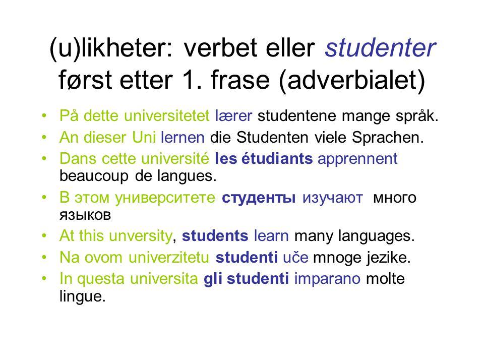 (u)likheter: verbet eller studenter først etter 1. frase (adverbialet)