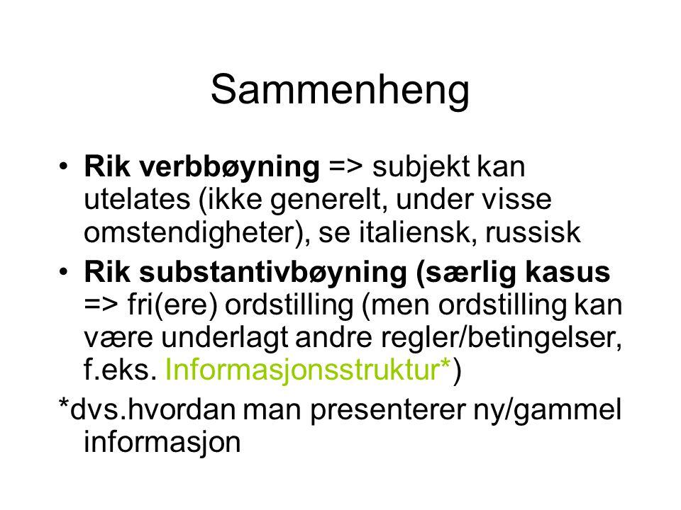 Sammenheng Rik verbbøyning => subjekt kan utelates (ikke generelt, under visse omstendigheter), se italiensk, russisk.