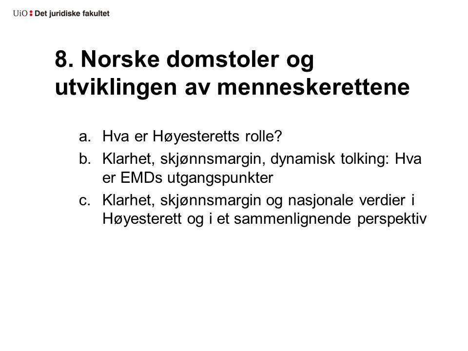 8. Norske domstoler og utviklingen av menneskerettene
