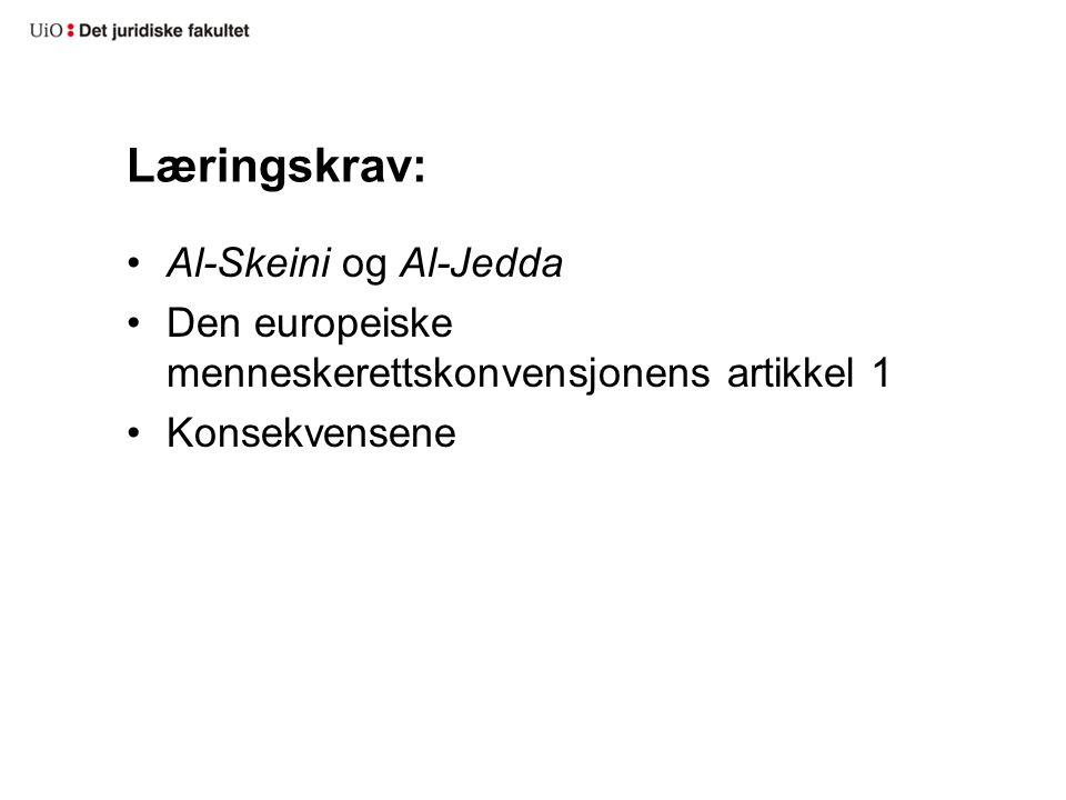 Læringskrav: Al-Skeini og Al-Jedda