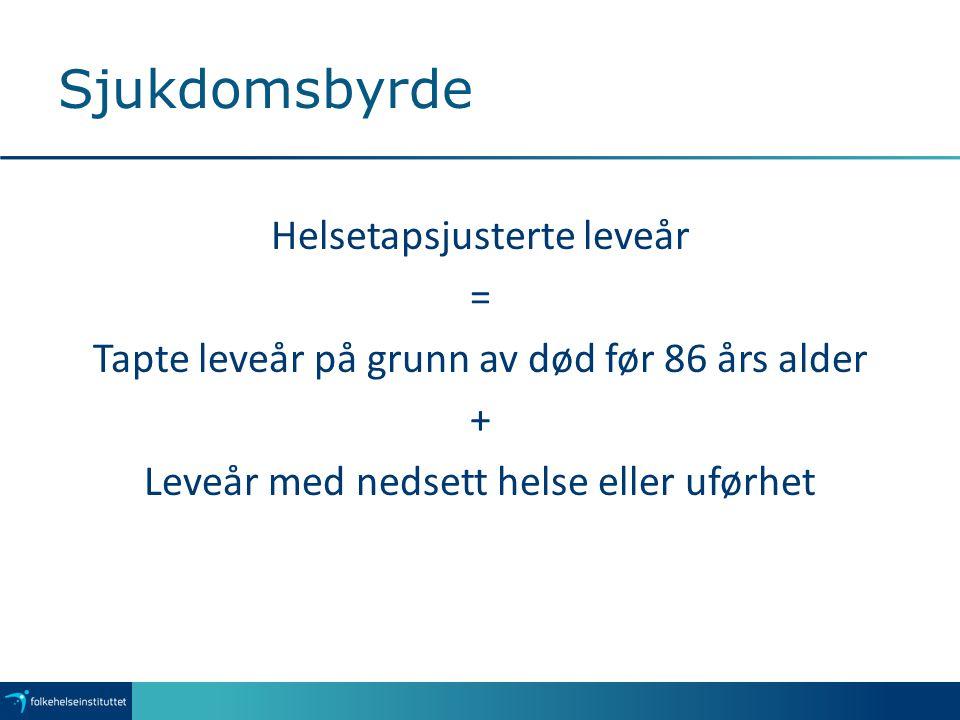 Sjukdomsbyrde Helsetapsjusterte leveår = Tapte leveår på grunn av død før 86 års alder + Leveår med nedsett helse eller uførhet