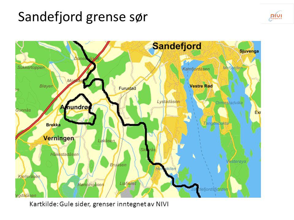 Sandefjord grense sør Kartkilde: Gule sider, grenser inntegnet av NIVI