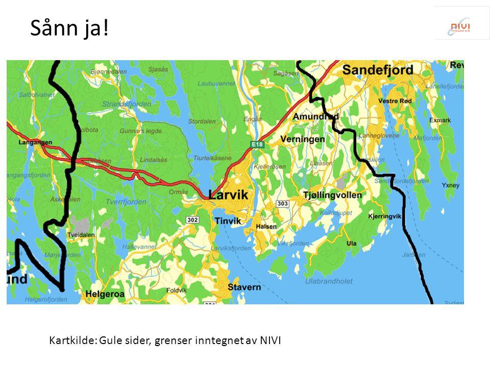Sånn ja! Kartkilde: Gule sider, grenser inntegnet av NIVI