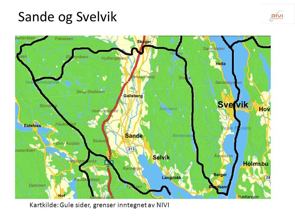 Sande og Svelvik Kartkilde: Gule sider, grenser inntegnet av NIVI