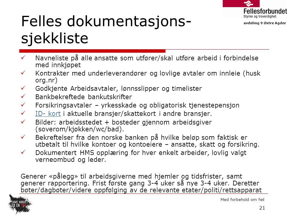 Felles dokumentasjons-sjekkliste