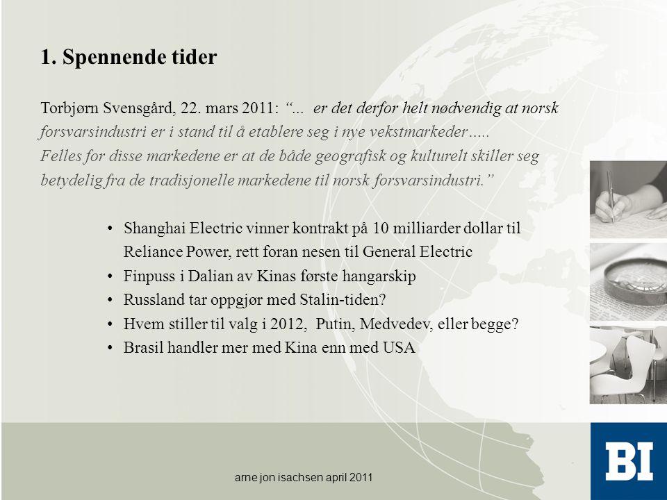 1. Spennende tider Torbjørn Svensgård, 22. mars 2011: ... er det derfor helt nødvendig at norsk.