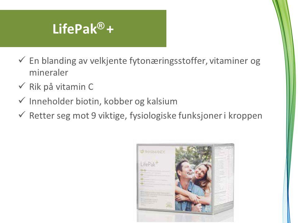 LifePak® + En blanding av velkjente fytonæringsstoffer, vitaminer og mineraler. Rik på vitamin C. Inneholder biotin, kobber og kalsium.