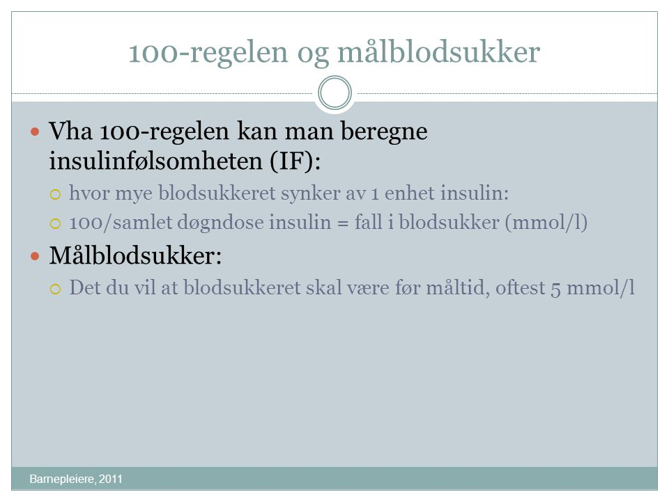 100-regelen og målblodsukker