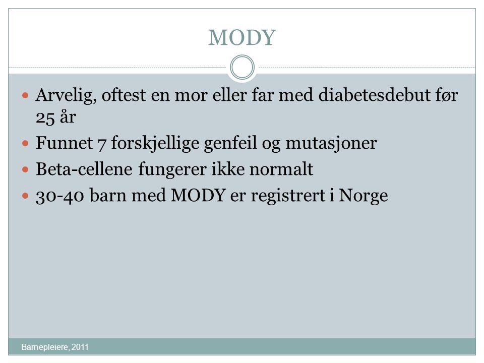MODY Arvelig, oftest en mor eller far med diabetesdebut før 25 år