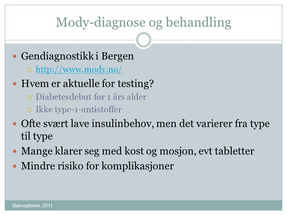 Mody-diagnose og behandling