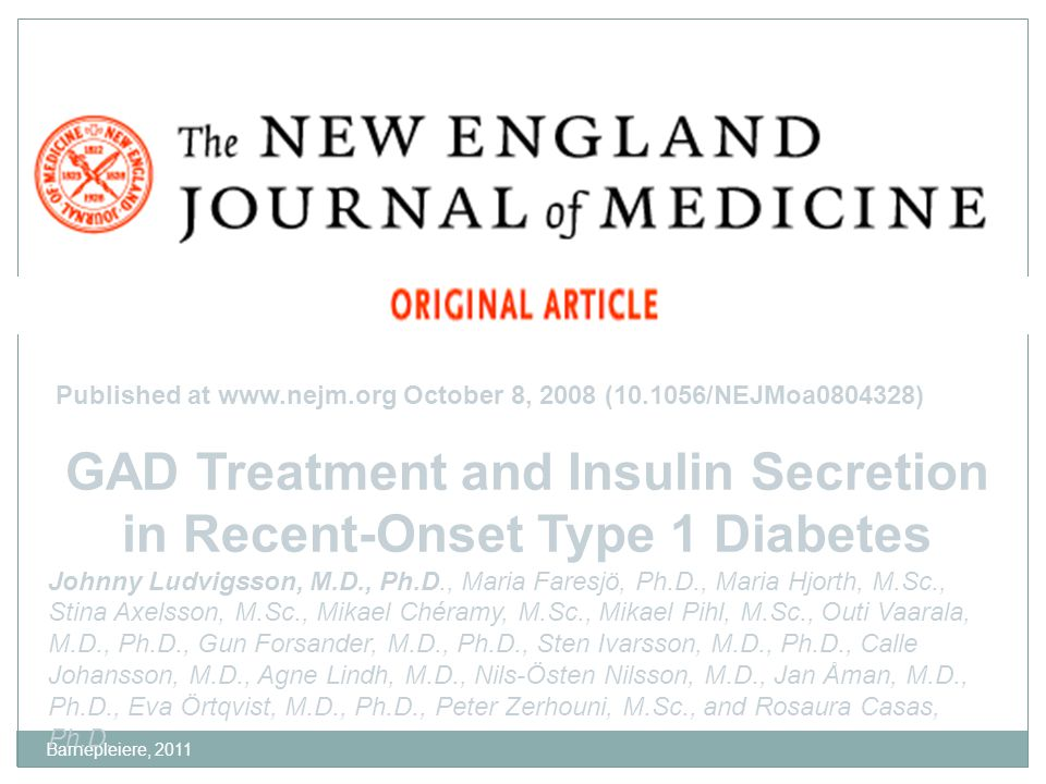 GAD Treatment and Insulin Secretion in Recent-Onset Type 1 Diabetes