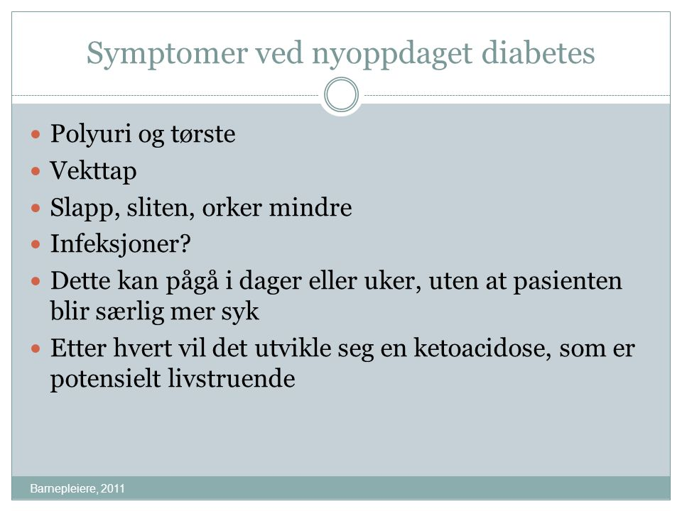 Symptomer ved nyoppdaget diabetes
