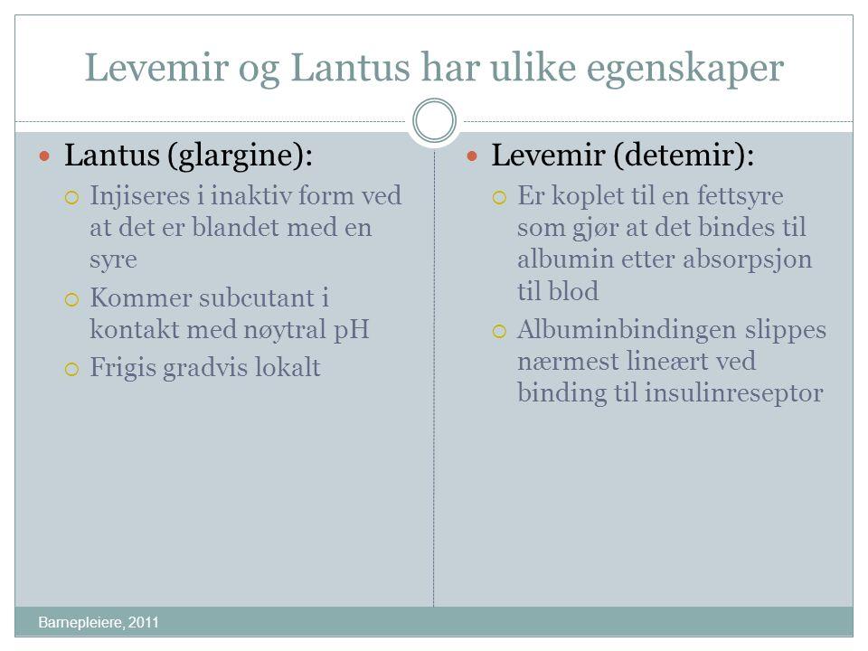 Levemir og Lantus har ulike egenskaper