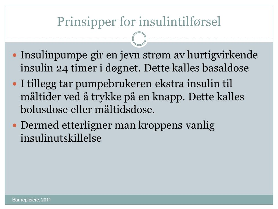 Prinsipper for insulintilførsel