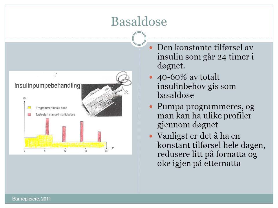 Basaldose Den konstante tilførsel av insulin som går 24 timer i døgnet. 40-60% av totalt insulinbehov gis som basaldose.