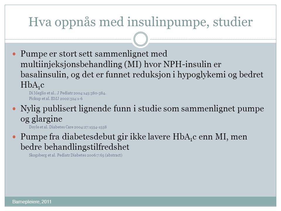Hva oppnås med insulinpumpe, studier