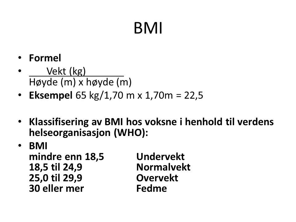 BMI Formel Vekt (kg) Høyde (m) x høyde (m)