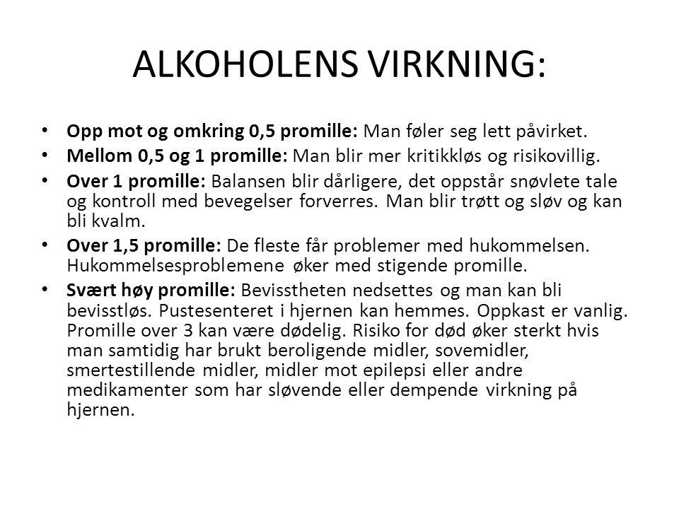 ALKOHOLENS VIRKNING: Opp mot og omkring 0,5 promille: Man føler seg lett påvirket.