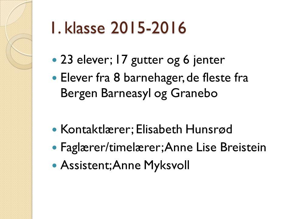 1. klasse 2015-2016 23 elever; 17 gutter og 6 jenter