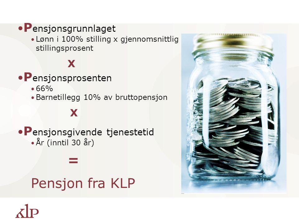 Pensjon fra KLP Pensjonsgrunnlaget Pensjonsprosenten