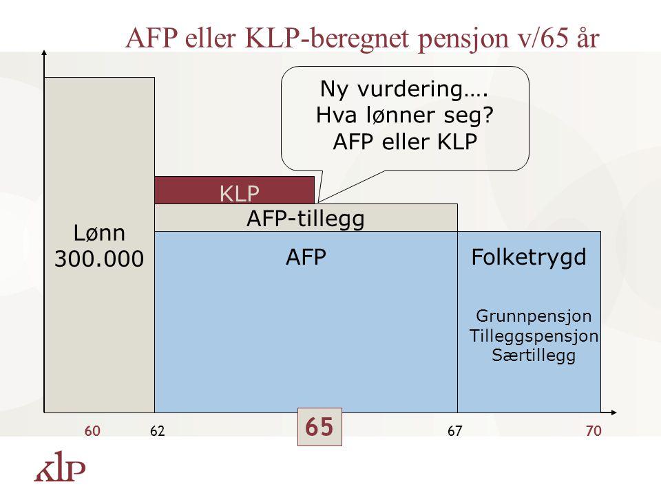 AFP eller KLP-beregnet pensjon v/65 år