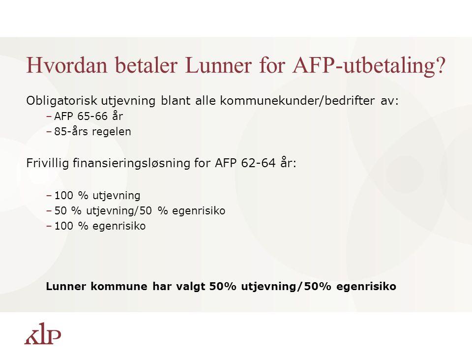 Hvordan betaler Lunner for AFP-utbetaling