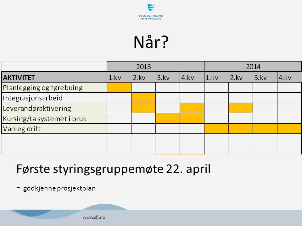 Når Første styringsgruppemøte 22. april - godkjenne prosjektplan