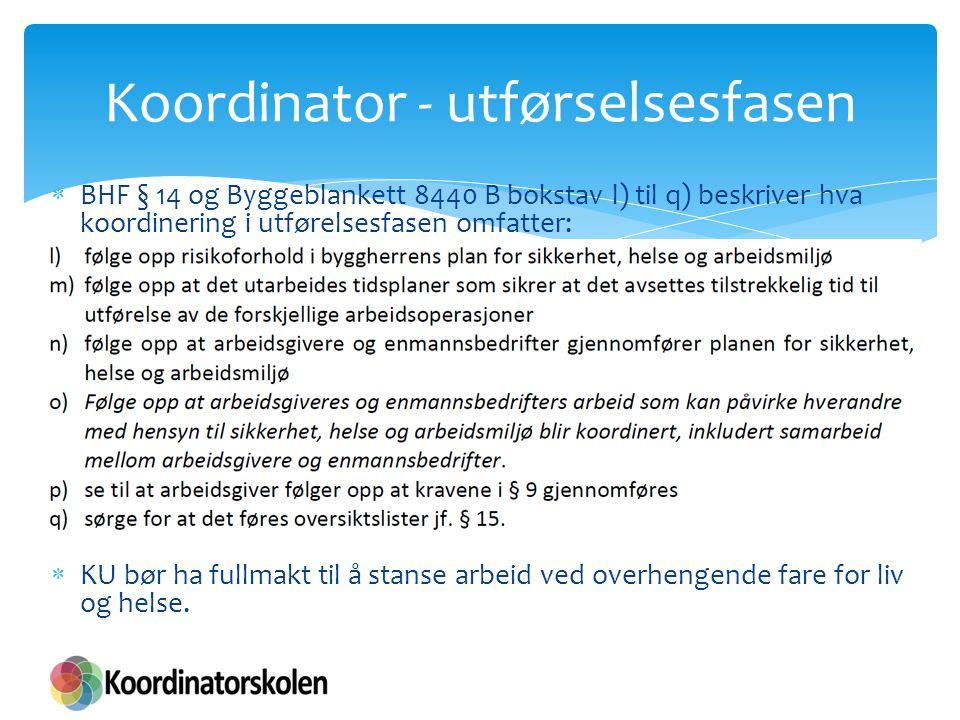Koordinator - utførselsesfasen