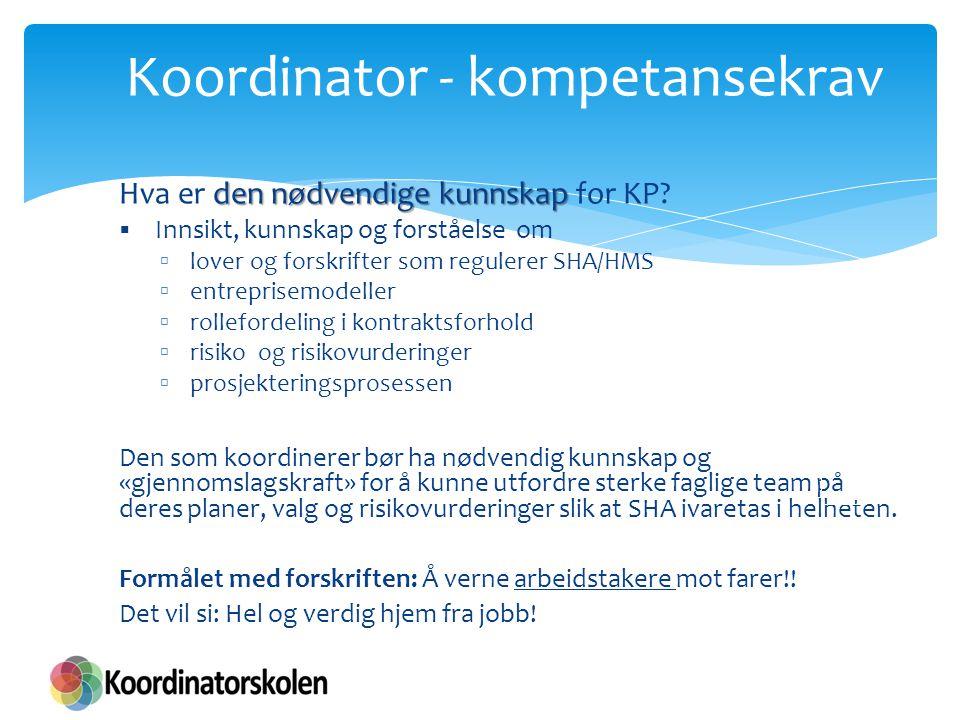 Koordinator - kompetansekrav