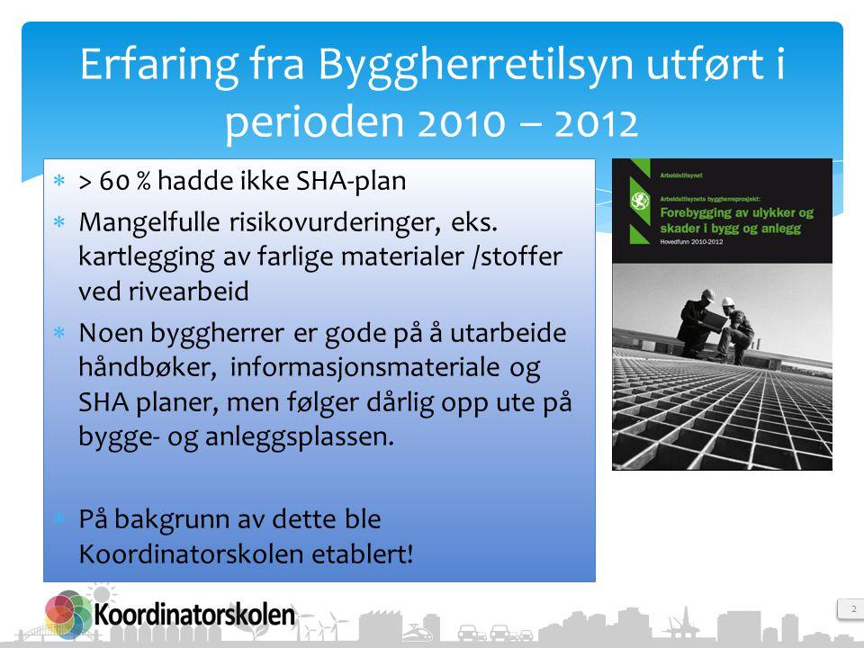 Erfaring fra Byggherretilsyn utført i perioden 2010 – 2012