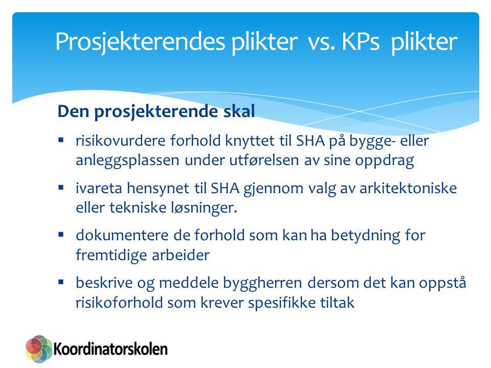 Prosjekterendes plikter vs. KPs plikter