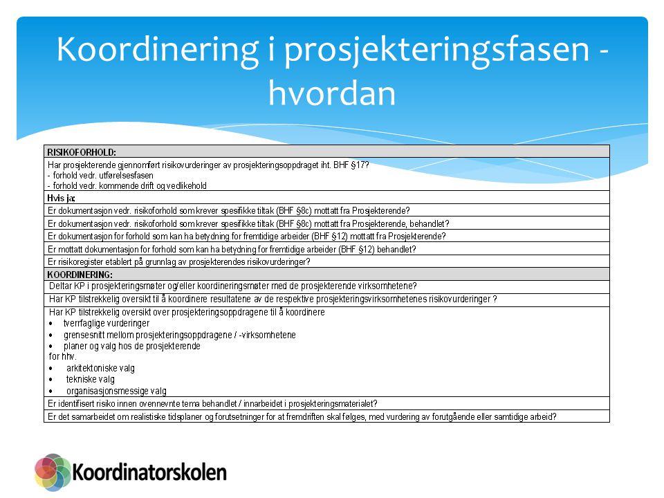 Koordinering i prosjekteringsfasen - hvordan