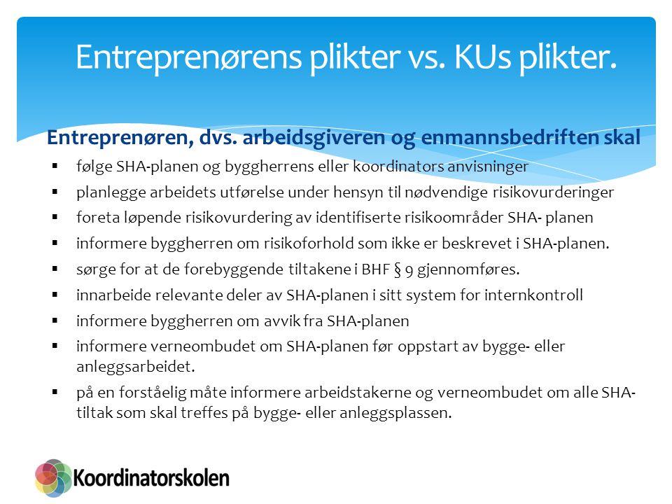 Entreprenørens plikter vs. KUs plikter.