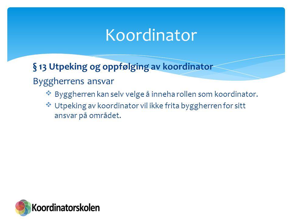 Koordinator § 13 Utpeking og oppfølging av koordinator