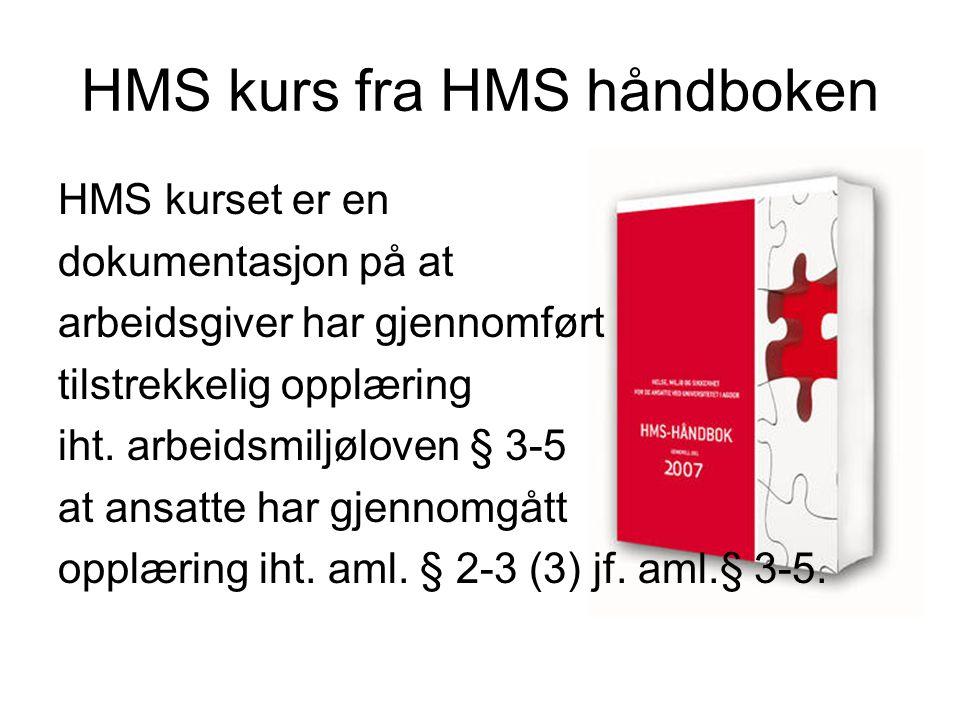 HMS kurs fra HMS håndboken