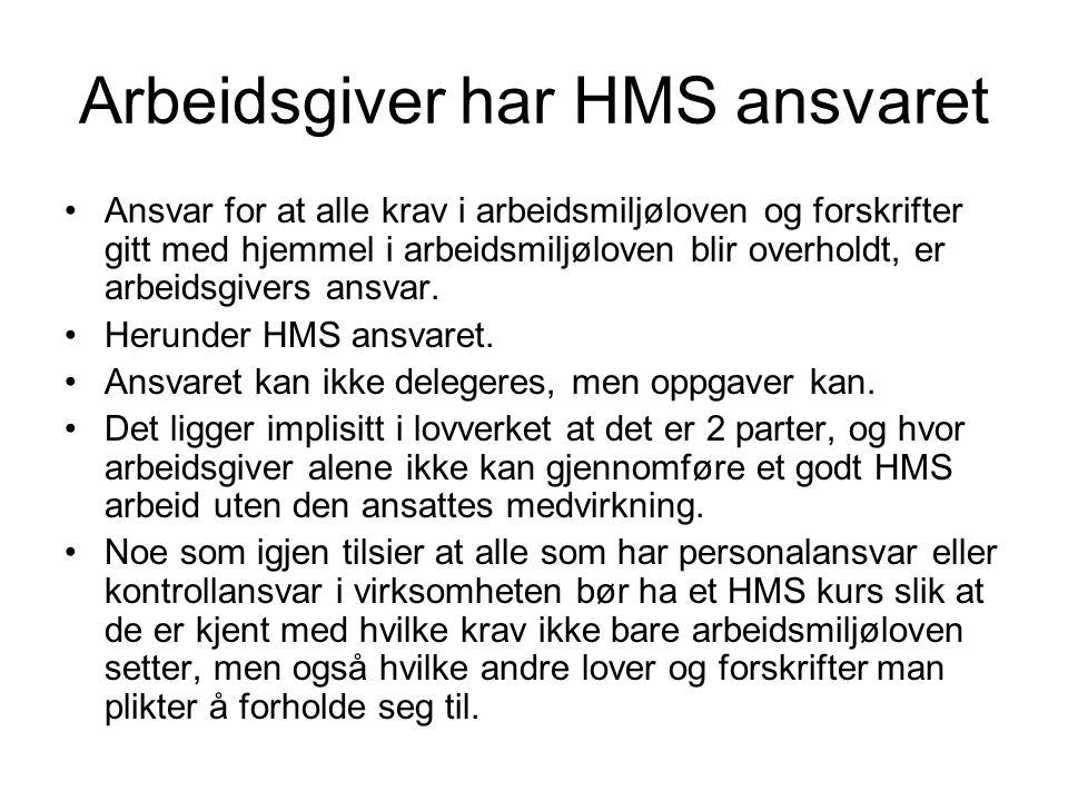 Arbeidsgiver har HMS ansvaret