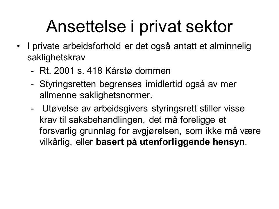 Ansettelse i privat sektor