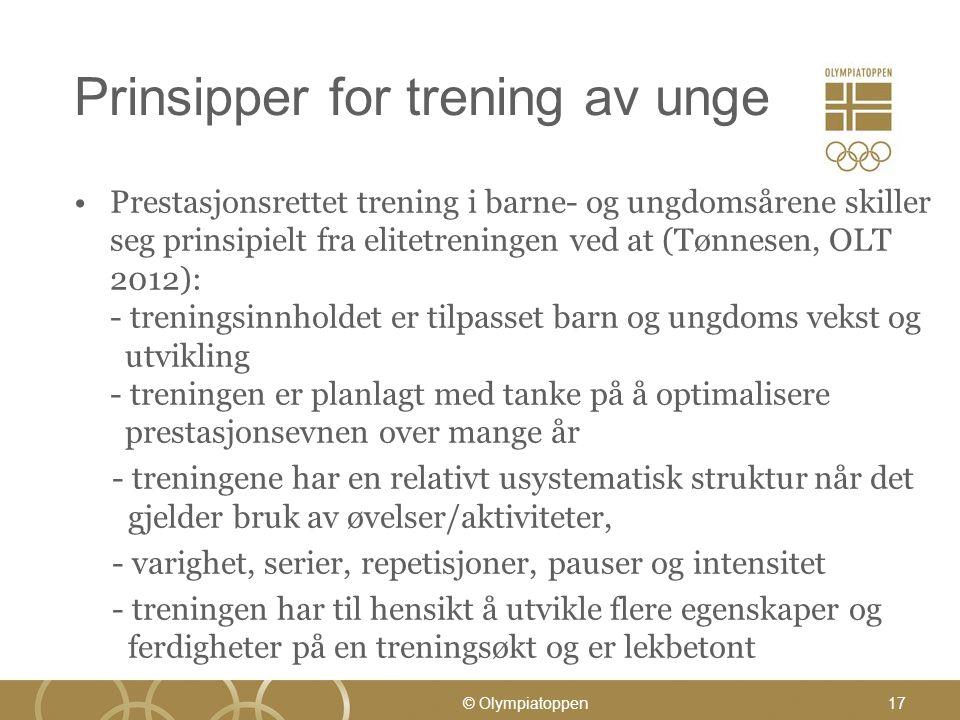 Prinsipper for trening av unge