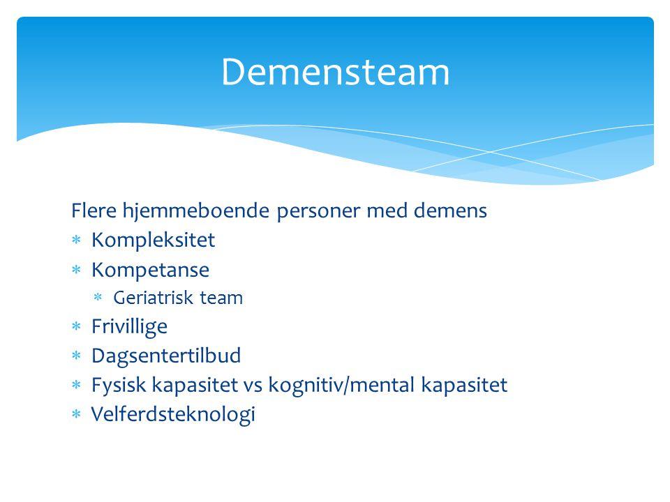 Demensteam Flere hjemmeboende personer med demens Kompleksitet
