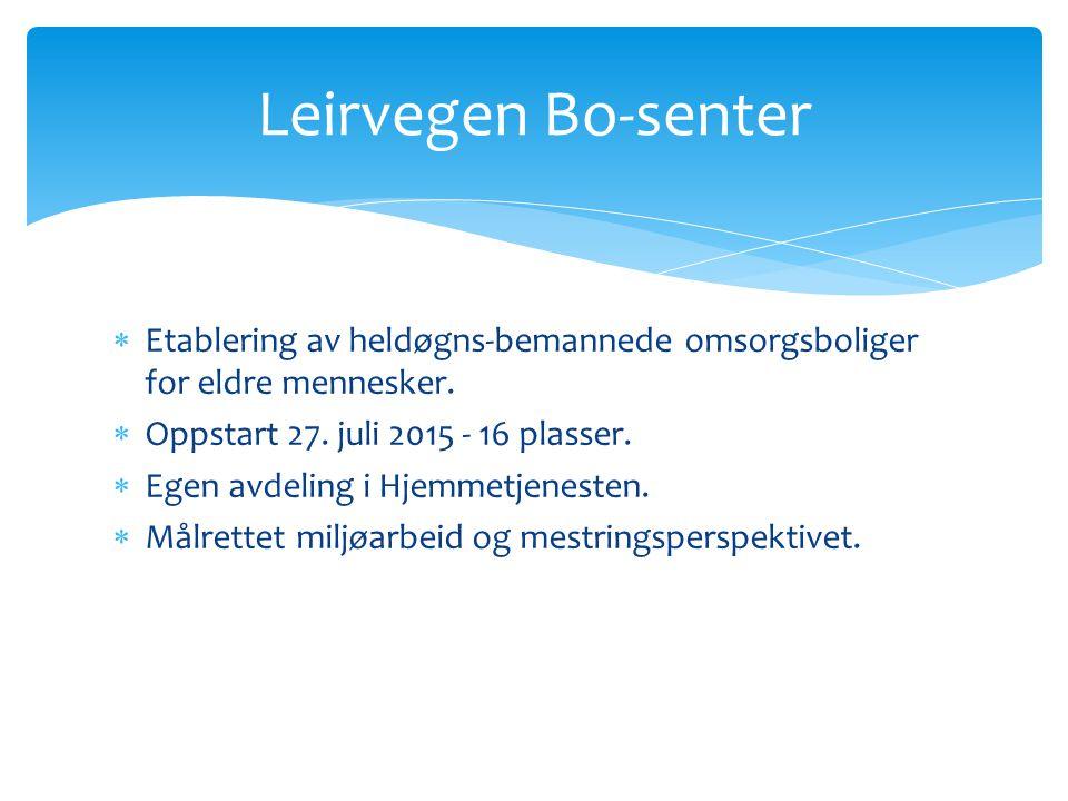 Leirvegen Bo-senter Etablering av heldøgns-bemannede omsorgsboliger for eldre mennesker. Oppstart 27. juli 2015 - 16 plasser.