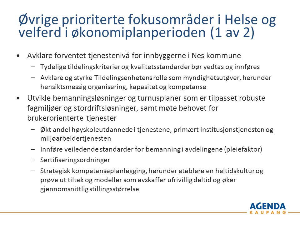 Øvrige prioriterte fokusområder i Helse og velferd i økonomiplanperioden (1 av 2)