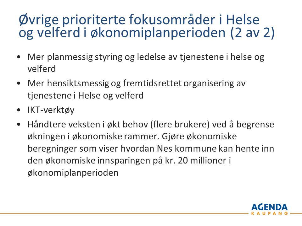 Øvrige prioriterte fokusområder i Helse og velferd i økonomiplanperioden (2 av 2)