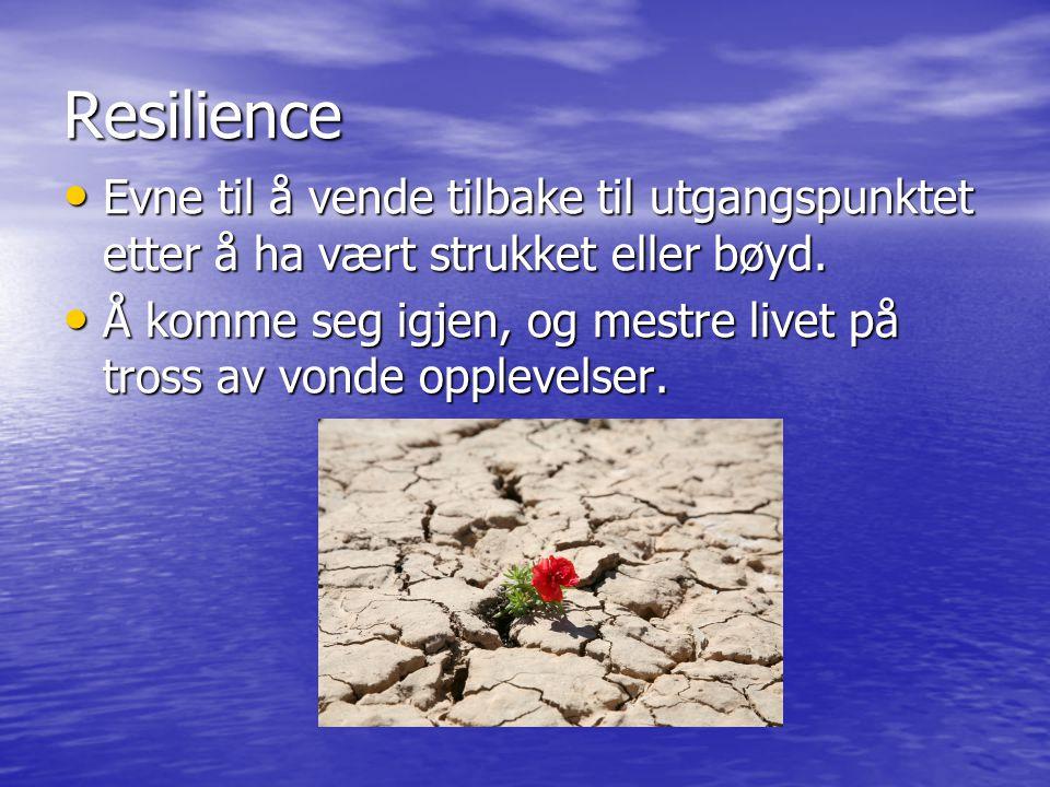 Resilience Evne til å vende tilbake til utgangspunktet etter å ha vært strukket eller bøyd.