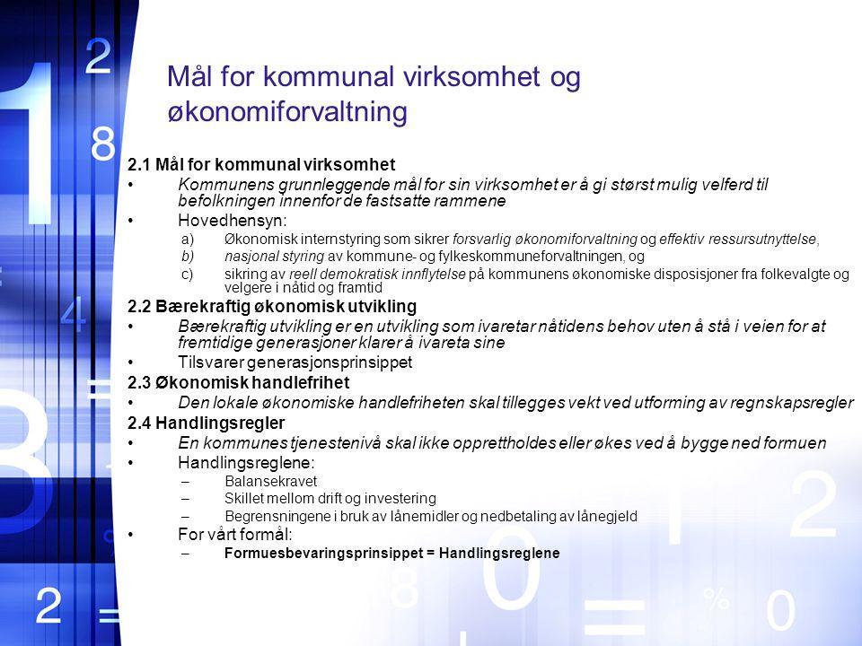 Mål for kommunal virksomhet og økonomiforvaltning
