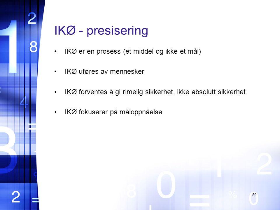 IKØ - presisering IKØ er en prosess (et middel og ikke et mål)