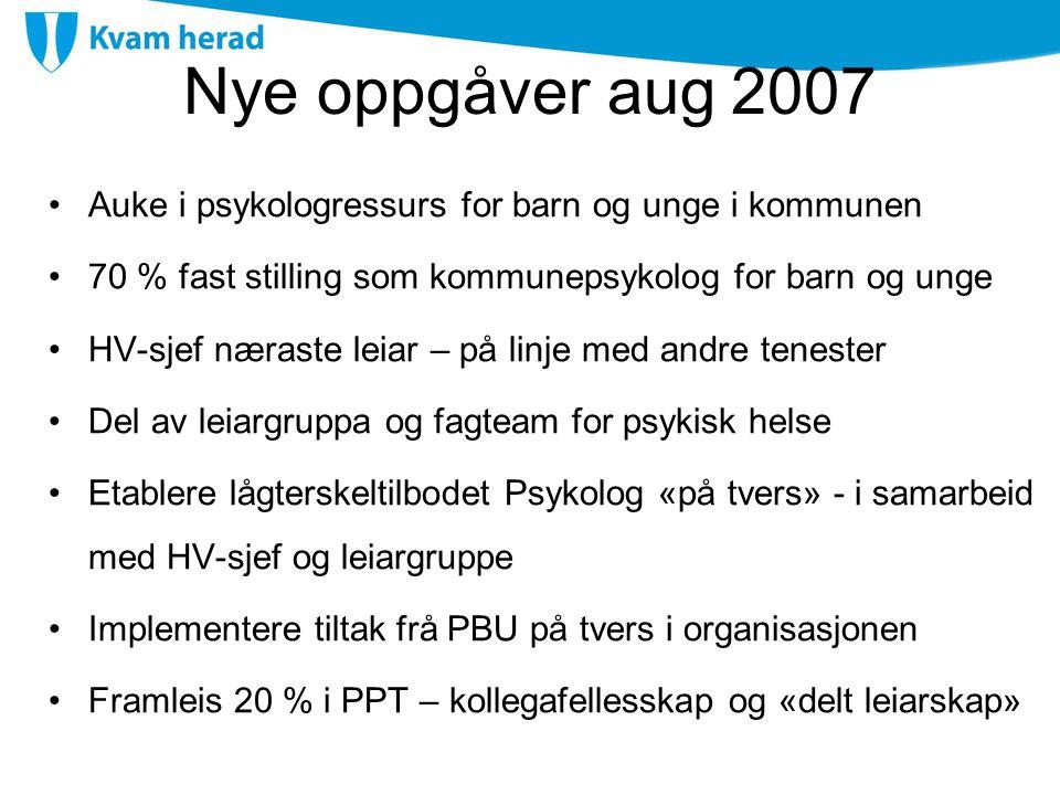Nye oppgåver aug 2007 Auke i psykologressurs for barn og unge i kommunen. 70 % fast stilling som kommunepsykolog for barn og unge.
